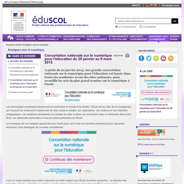 Enseigner avec le numérique - Concertation nationale sur le numérique pour l'éducation du 20 janvier au 9 mars 2015