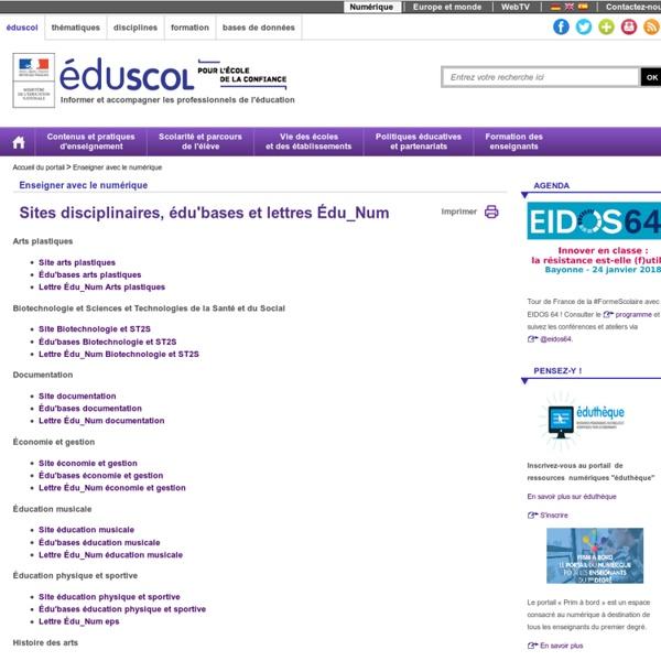 Ressources disciplinaires - Sites, édu'bases et lettres Tic'édu