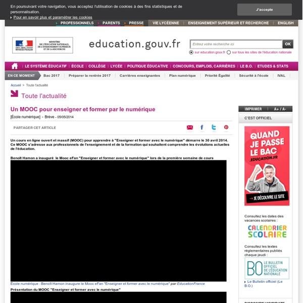 Un MOOC pour enseigner et former par le numérique