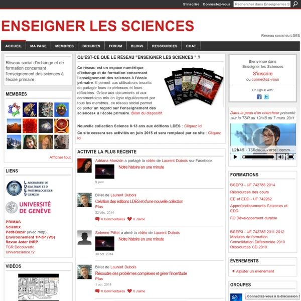 Enseigner les Sciences, EE et EDD - Réseau social du Laboratoire de Didactique et d'Epistémologie des Sciences