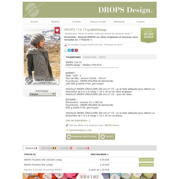 Ensemble : Bonnet DROPS en côtes anglaises et écharpe avec torsades en « Polaris »