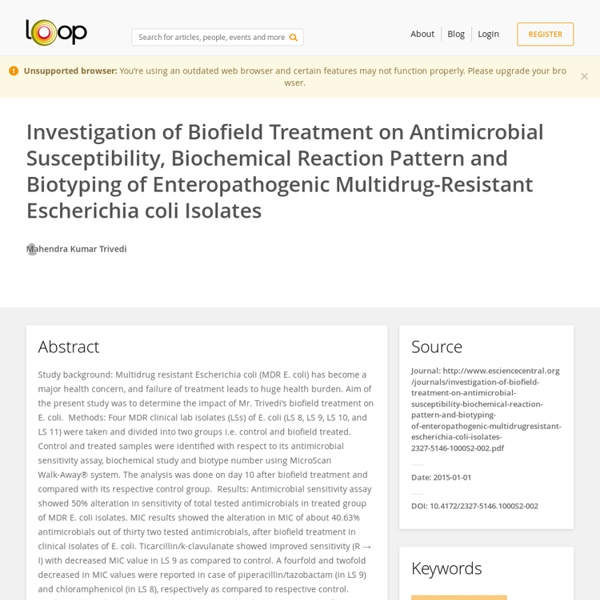 Study of Alternative Energy Treated E. Coli Antibiotic Sensitivity