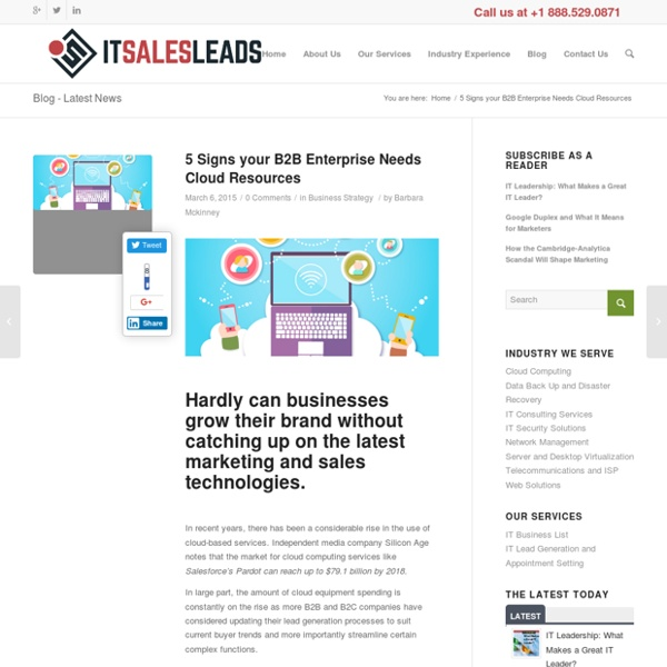 5 Signs your B2B Enterprise Needs Cloud Resources