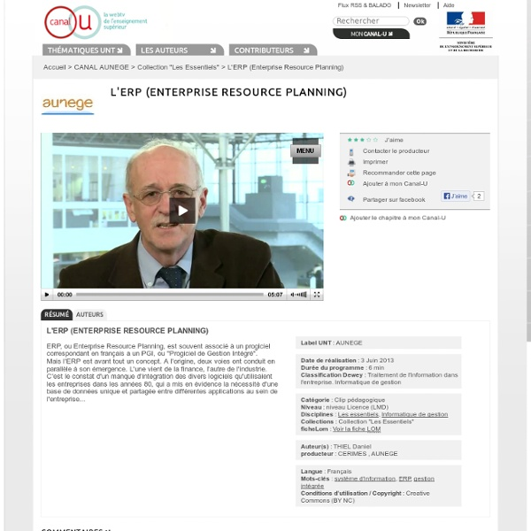 L'ERP (Enterprise Resource Planning) - CANAL AUNEGE