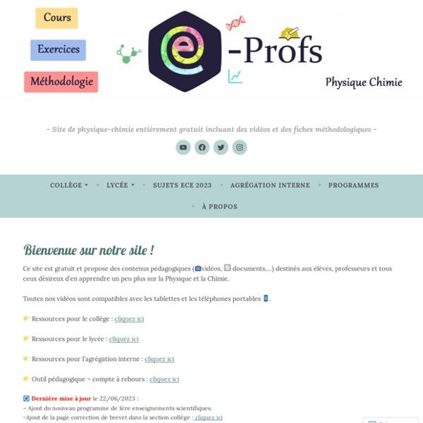 Site de physique-chimie incluant des vidéos et des fiches méthodologiques