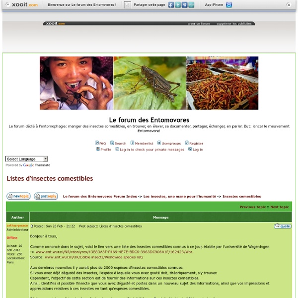 Forum des entomovores - Listes d'insectes comestibles en France