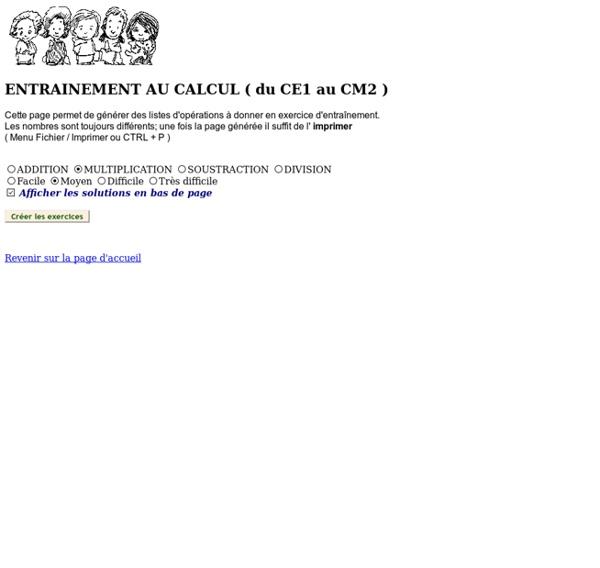 Générateur de feuilles de calcul du CE1 au CM2