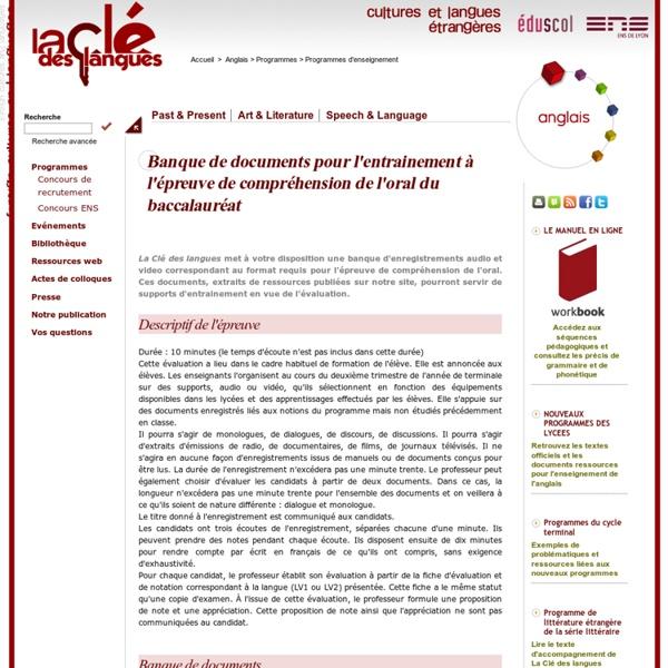 Banque de documents pour l'entrainement à l'épreuve de compréhension de l'oral du baccalauréat