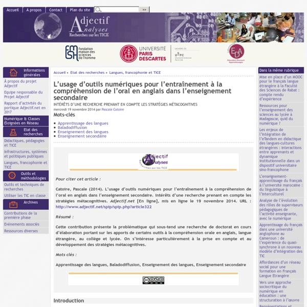 L'usage d'outils numériques pour l'entraînement à la compréhension de l'oral en anglais dans l'enseignement secondaire