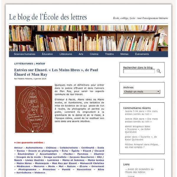 Entrées sur Eluard. «Les Mains libres», de Paul Éluard et Man Ray