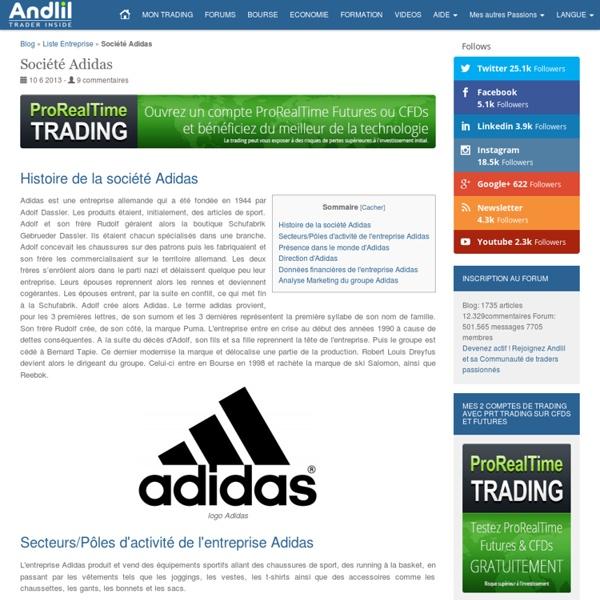 Entreprise Adidas : Chiffre d'affaires et résultats de l'action Adidas