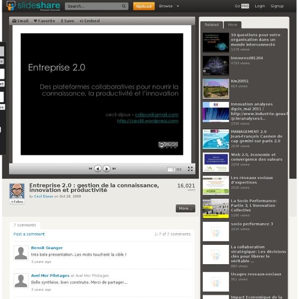 Entreprise 2.0 : gestion de la connaissance, innovation et producti...