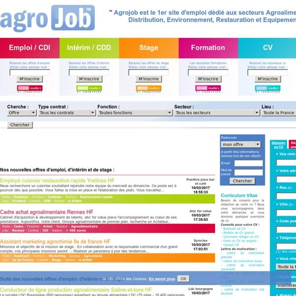 Agrojob : Emploi, Interim, Stage, Formation, CV, Entreprise, Dictionnaire