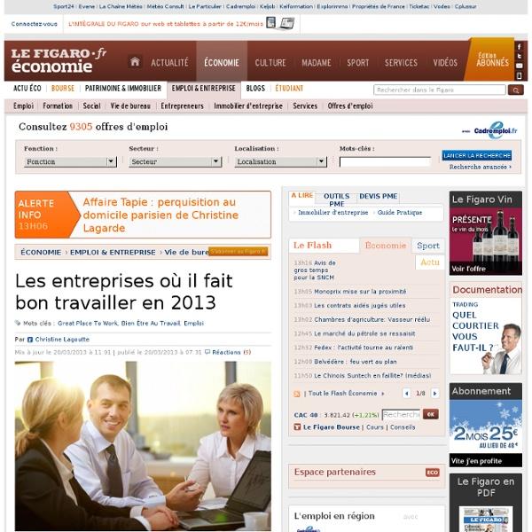 Vie de bureau : Les entreprises où il fait bon travailler en 2013