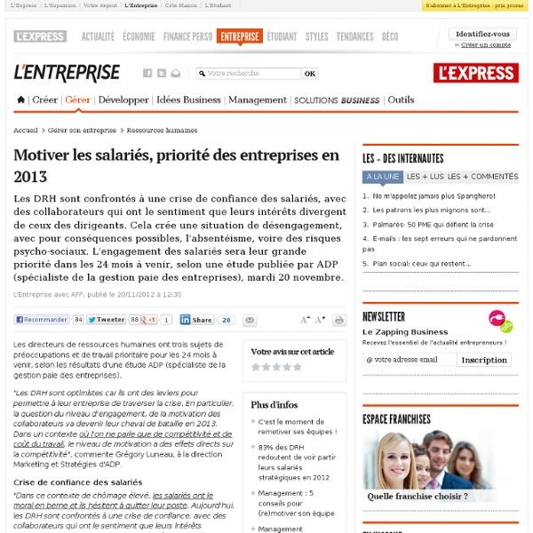 Motiver les salariés, priorité des entreprises en 2013