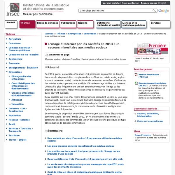 INSEE - AVRIL 2014 - L'usage d'Internet par les sociétés en 2013 : un recours minoritaire aux médias sociaux
