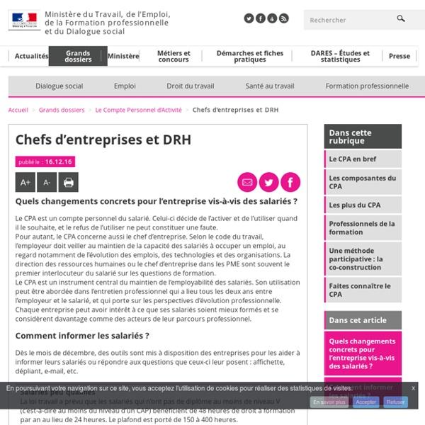 Chefs d'entreprises et DRH - Le Compte Personnel d'Activité