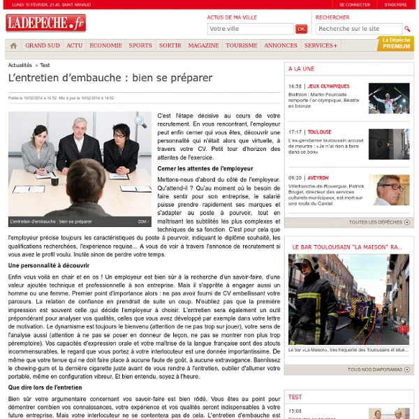 L'entretien d'embauche : bien se préparer - 10/02/2014