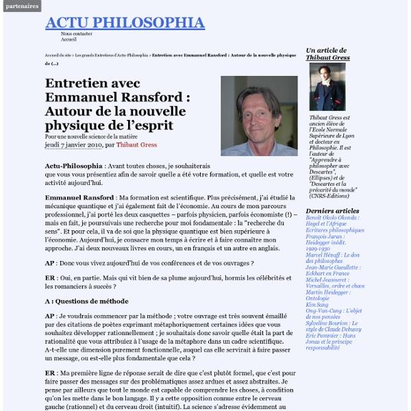 Entretien avec Emmanuel Ransford : Autour de la nouvelle physique de l'esprit
