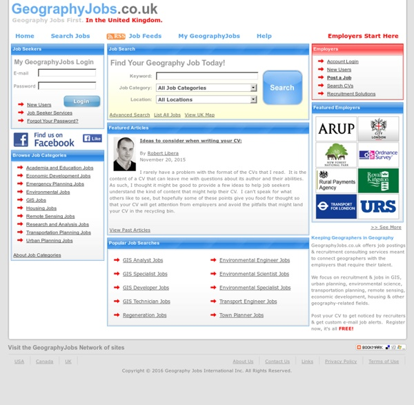UK Geography Jobs - Town Planning