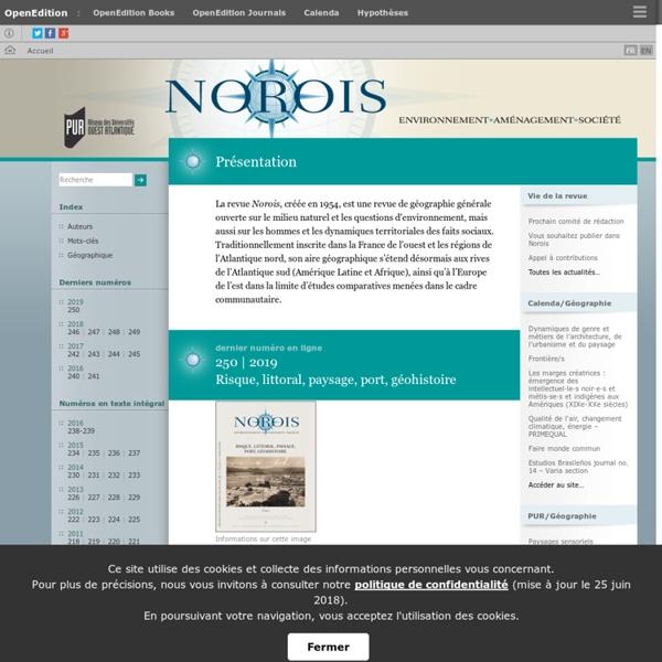 Norois - Environnement, aménagement, société
