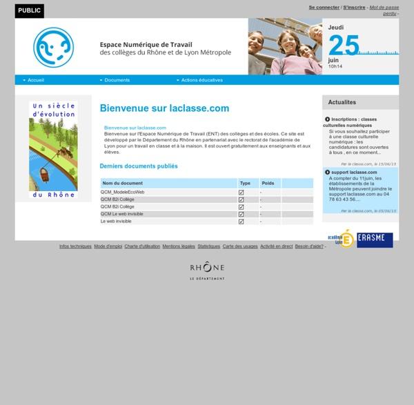 ENT laclasse.com - Environnement Numérique de Travail des collèges du Département du Rhône - Accueil