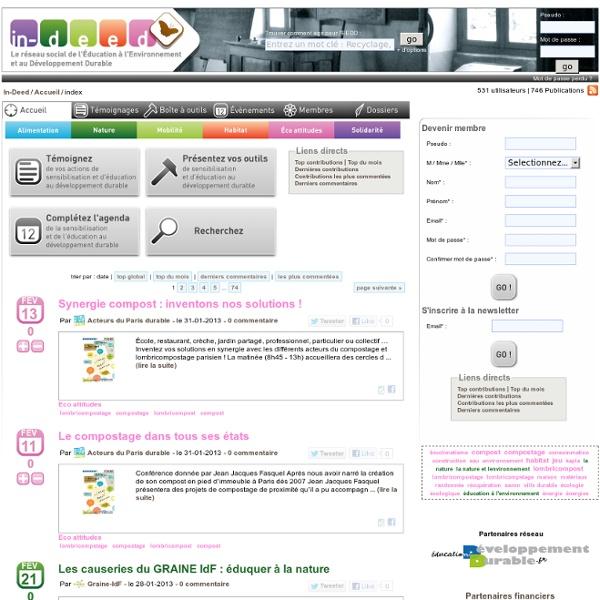 In-Deed.org : réseau social de l'éducation à l'environnement et au développement durable (EEDD)