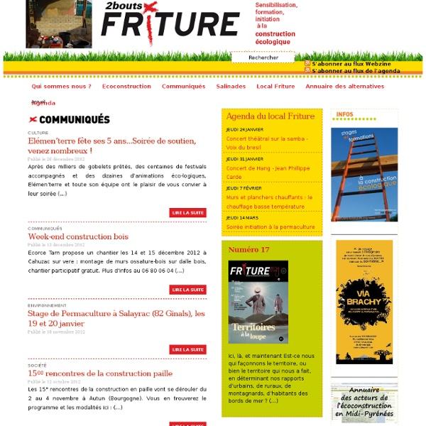 Friture - Formation ecoconstruction - Soirées au local - Construction écologique - Alternatives Midi-Pyrénées