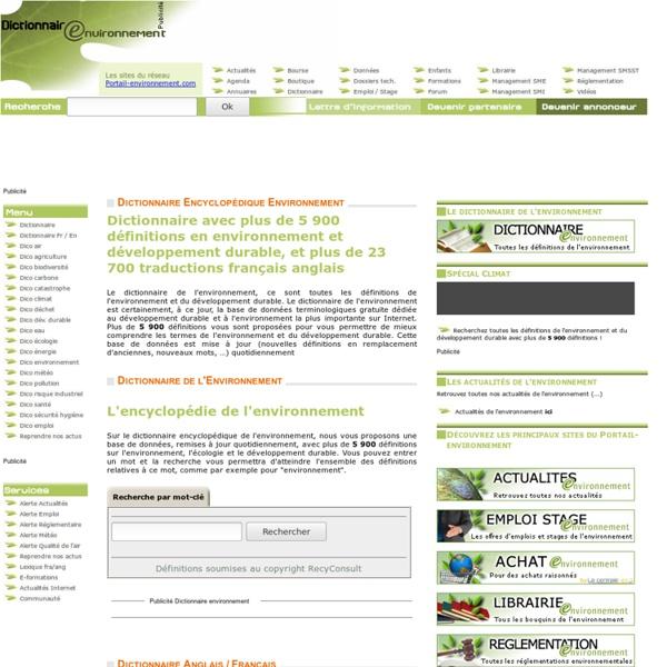 Dictionnaire environnement, le DICTIONNAIRE environnemental et l'encyclopédie gratuite