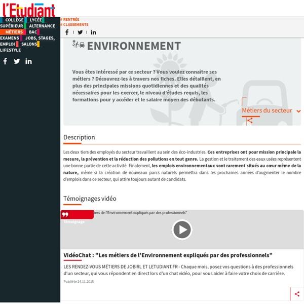 Environnement : quels métiers dans le secteur de l'environnement ?