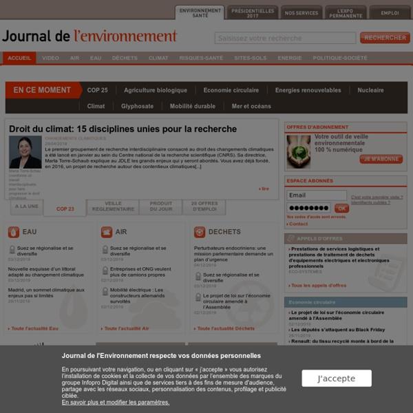 Environnement, santé et Sécurité - Journal de l'Environnement