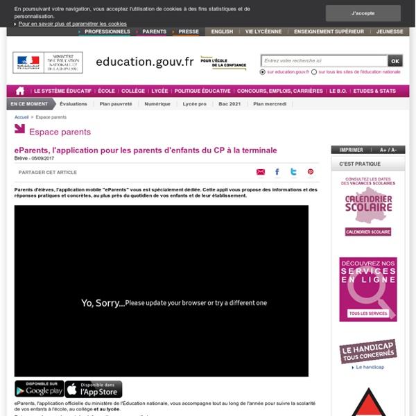 eParents, l'application pour les parents d'enfants du CP à la terminale