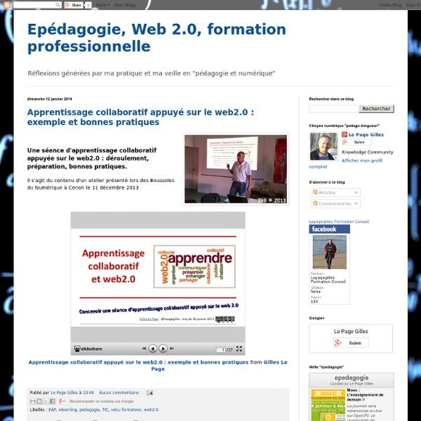 Epédagogie, Web 2.0, formation professionnelle