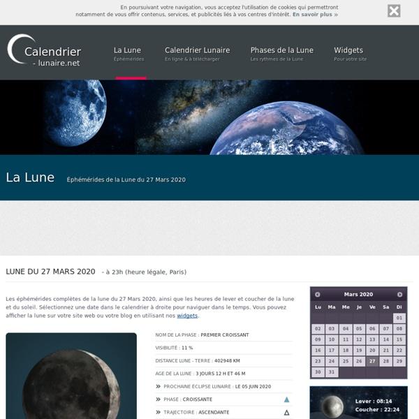 Calendrier Lunaire - La lune, ses éphémérides, ses éclipses, ses influences et des calendriers lunaires à télécharger