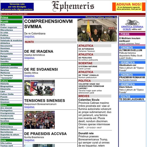 EPHEMERIS. Nuntii Latini universi.