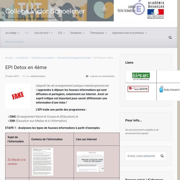 EPI Detox en 4ème – Collège Victor Schoelcher