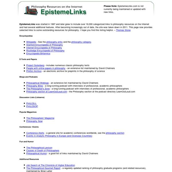 EpistemeLinks: Philosophy Resources on the Internet