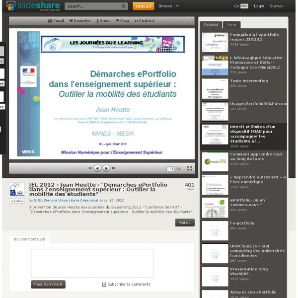 """JEL 2012 - Jean Heutte - """"Démarches ePortfolio dans l'enseignement ..."""