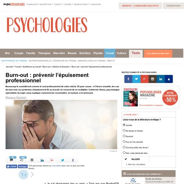 Burn out - Prévenir le Burn-out - Prévenir le syndrome d'épuisement professionnel
