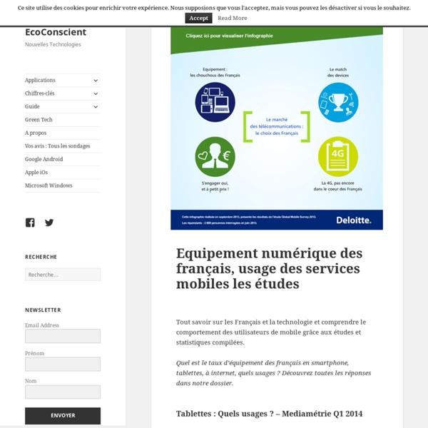 Equipement numérique des français, usage des services mobiles les études