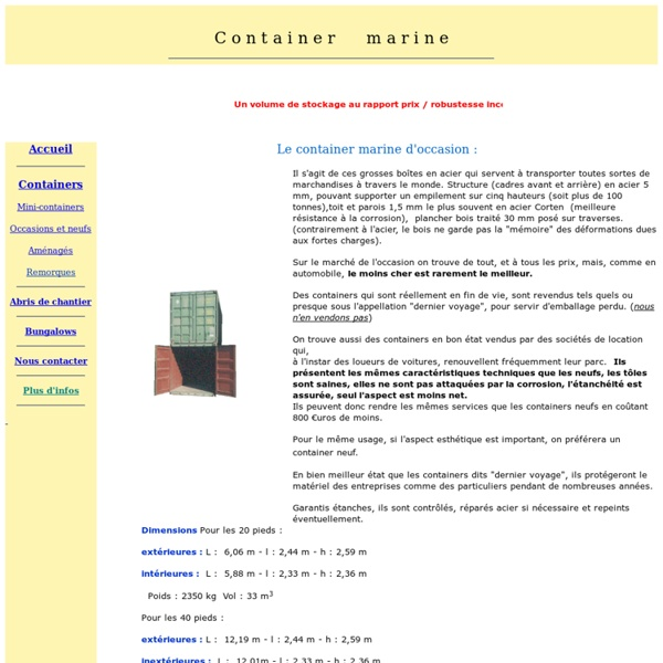 Equipement de chantier : vente de container maritime reconditionnés