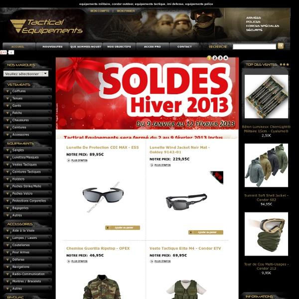 Equipements militaires, surplus militaire et gendarmerie chez Tactical Equipements