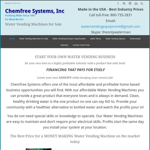 Chemfree Systems, Inc Purified Water Vending Machines