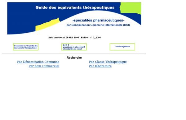 Guide des Equivalents Thérapeutiques
