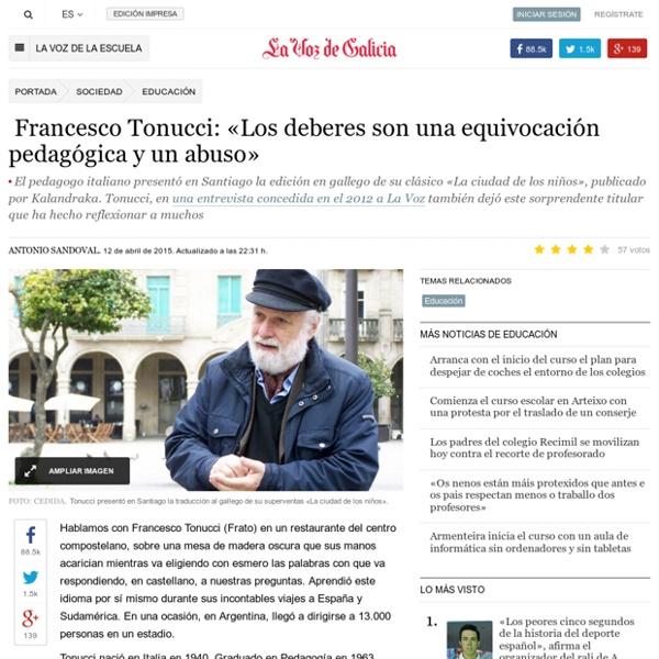 Francesco Tonucci:«Los deberes son una equivocación pedagógica y un abuso»