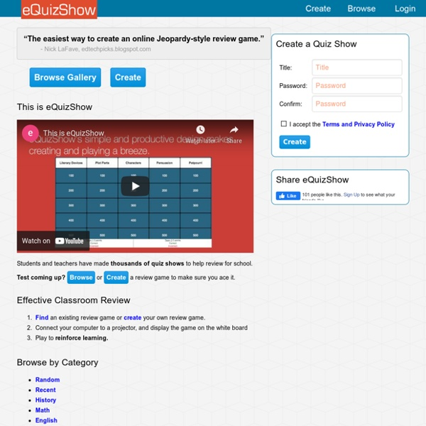 EQuizShow Online Templates | Pearltrees
