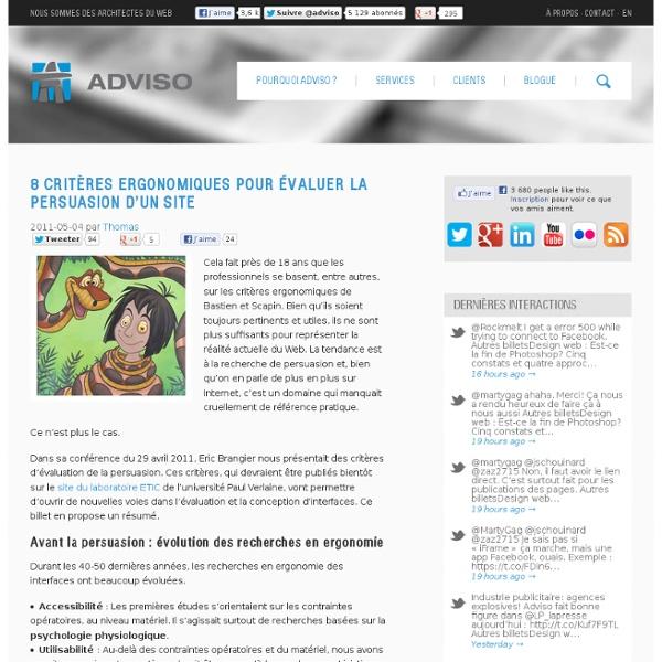 8 critères ergonomiques pour évaluer la persuasion d'un site