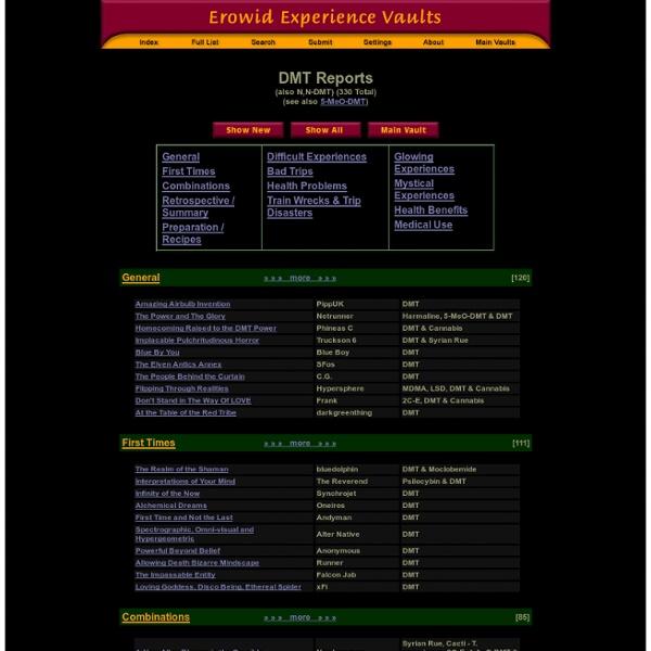 DMT (also N,N-DMT) Main Index