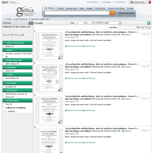 - Volumes du même ensemble éditorial - 8 résultats sur Gallica - Tri par titre