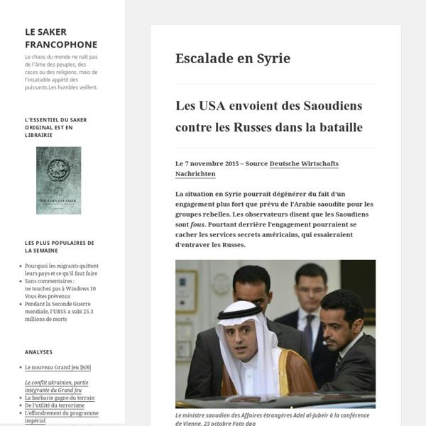 Escalade en Syrie